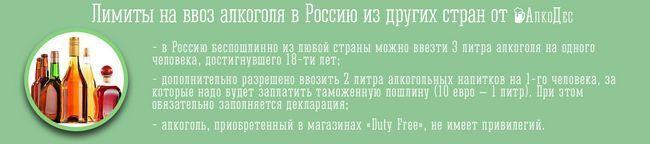 Норма ввезення алкоголю в росію з інших країн